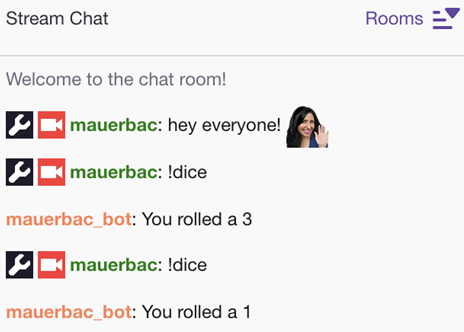 Screenshot of sample chatbot